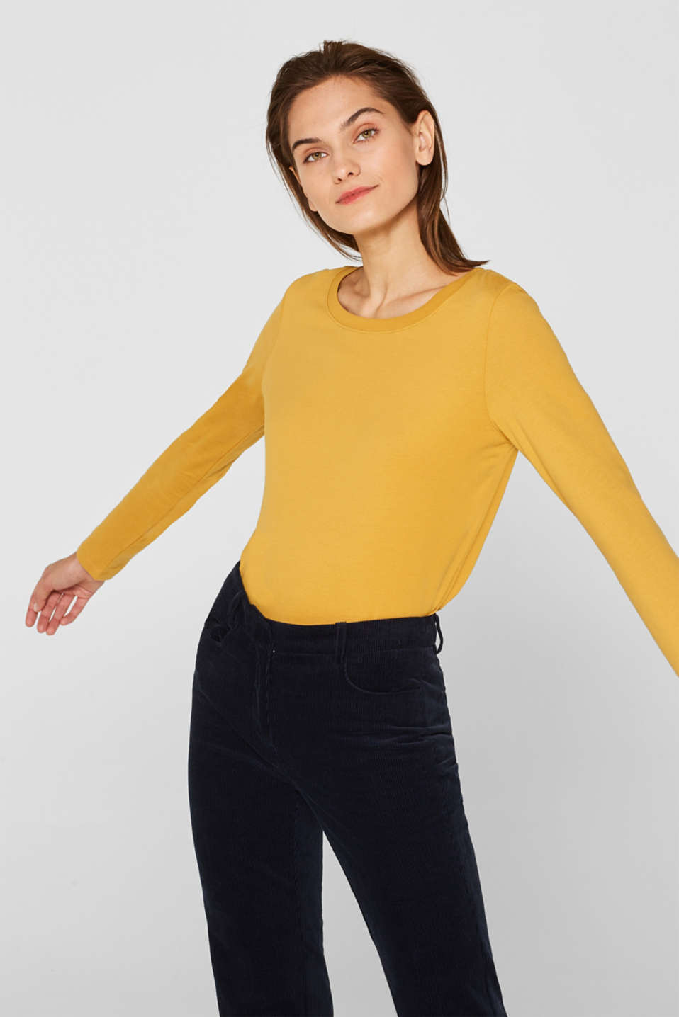 Long sleeve top in a basic design, 100% cotton, HONEY YELLOW 4, detail image number 0