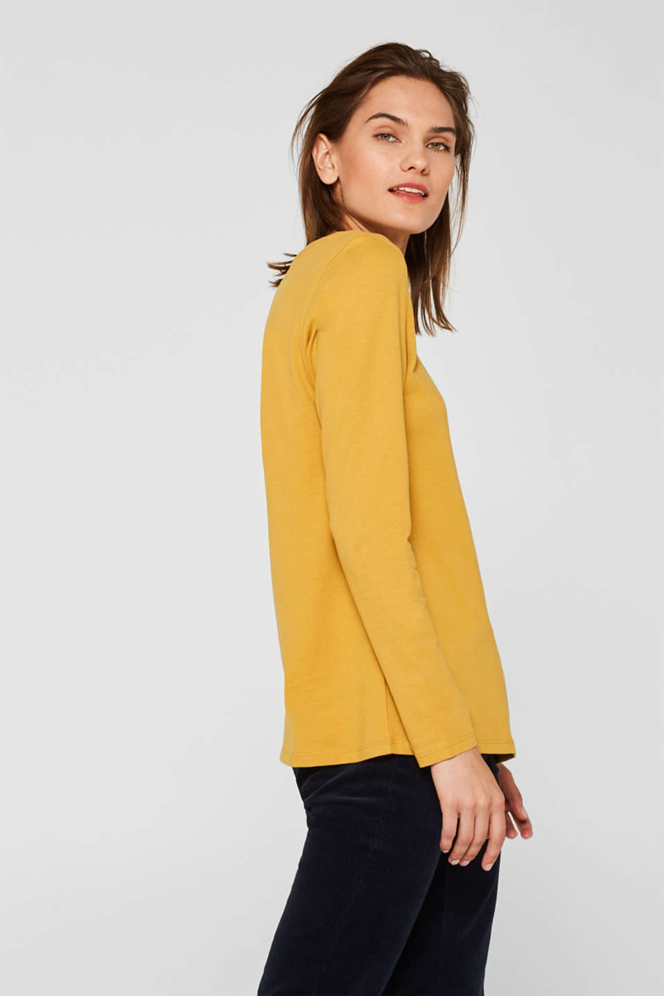 Long sleeve top in a basic design, 100% cotton, HONEY YELLOW 4, detail image number 5