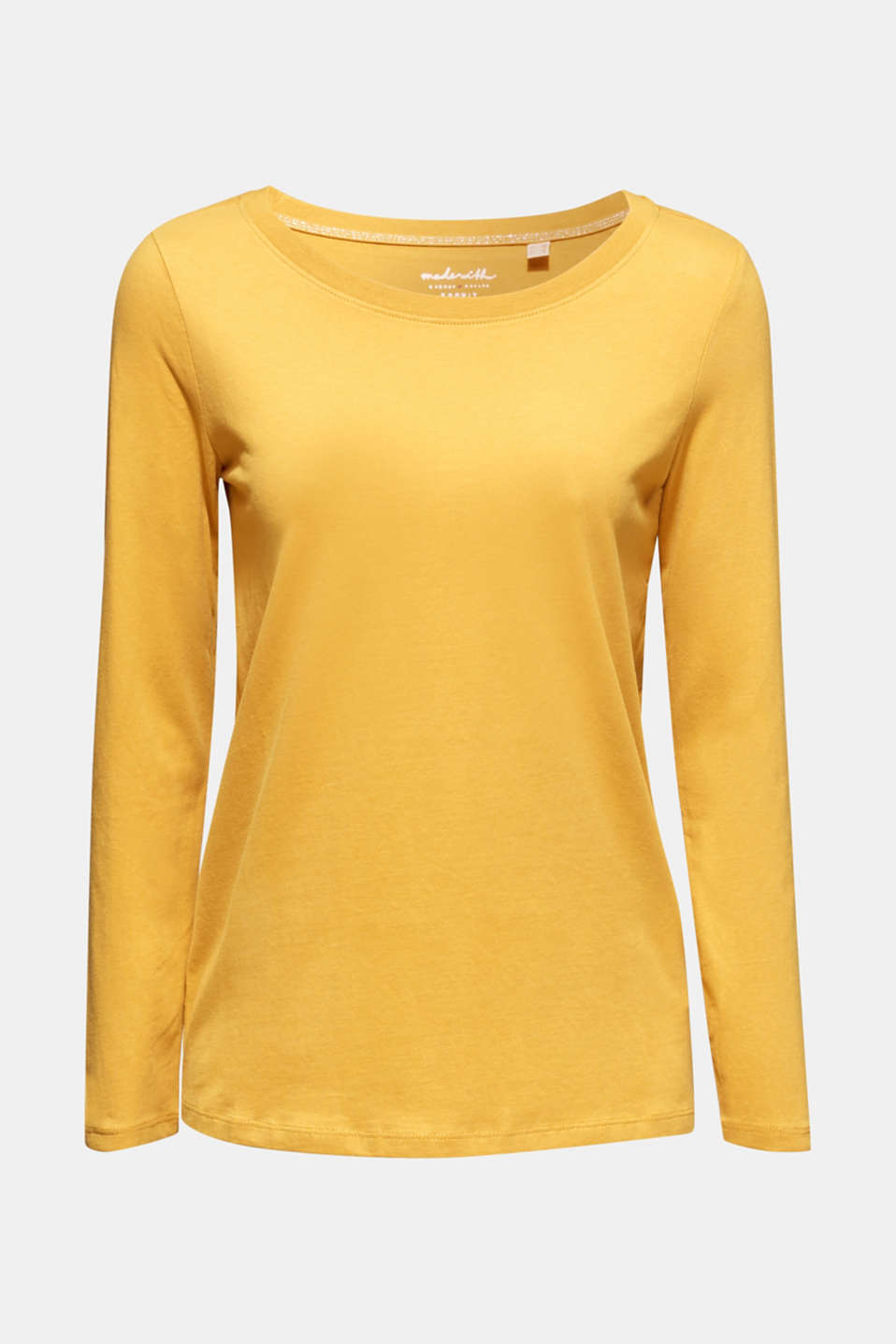 Long sleeve top in a basic design, 100% cotton, HONEY YELLOW 4, detail image number 6