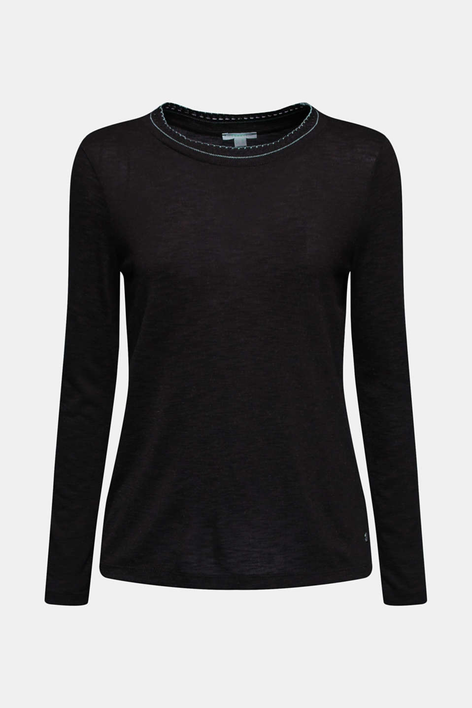 Textured long sleeve top with a crocheted collar, BLACK, detail image number 6