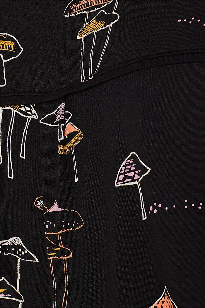 Printed long sleeve top with an elasticated hem, BLACK, detail image number 4