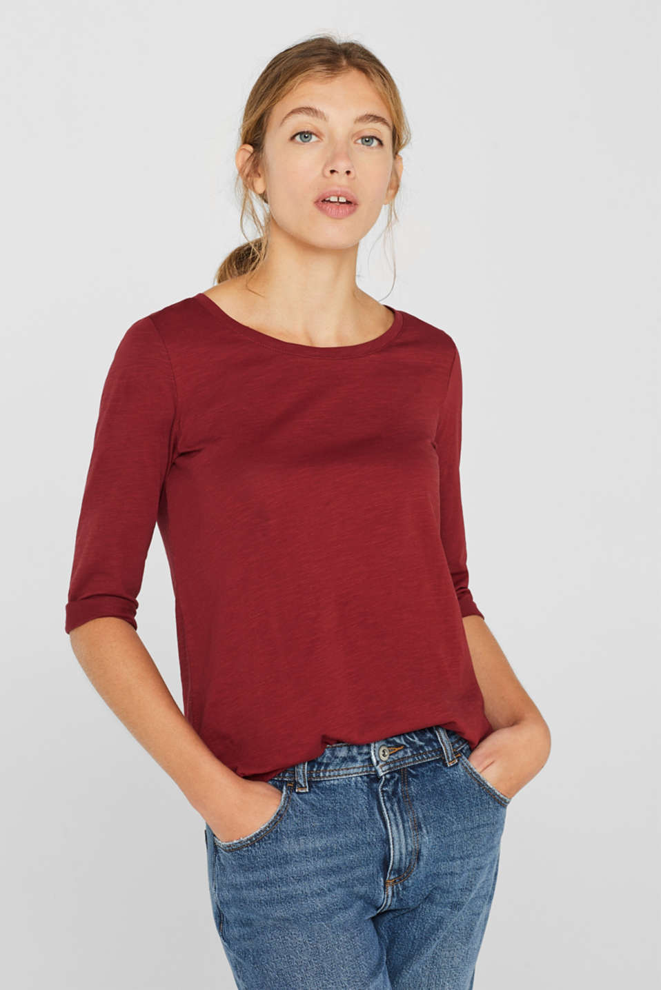 Long sleeve top with a large neckline, 100% cotton, GARNET RED 5, detail image number 0