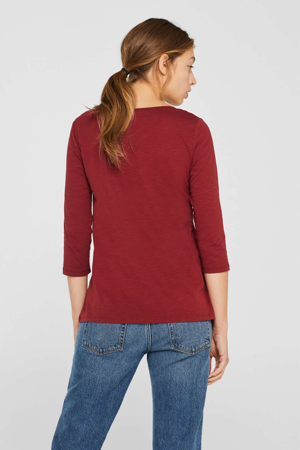 Long sleeve top with a large neckline, 100% cotton, GARNET RED 5, detail image number 3