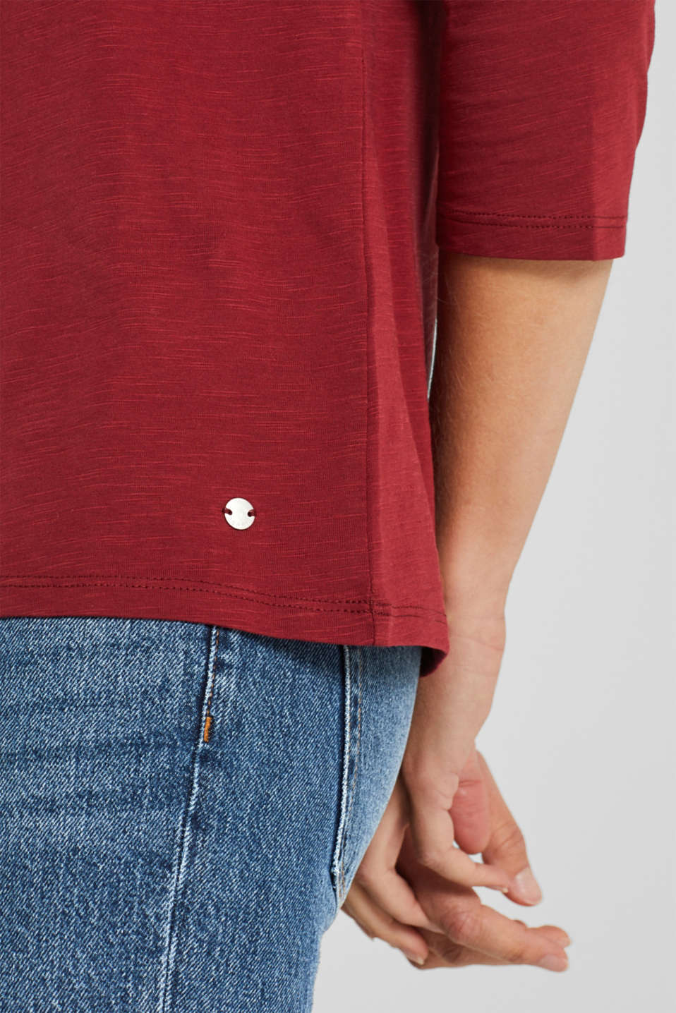 Long sleeve top with a large neckline, 100% cotton, GARNET RED 5, detail image number 2