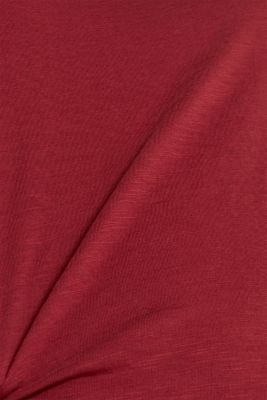 Long sleeve top with a large neckline, 100% cotton, GARNET RED 5, detail