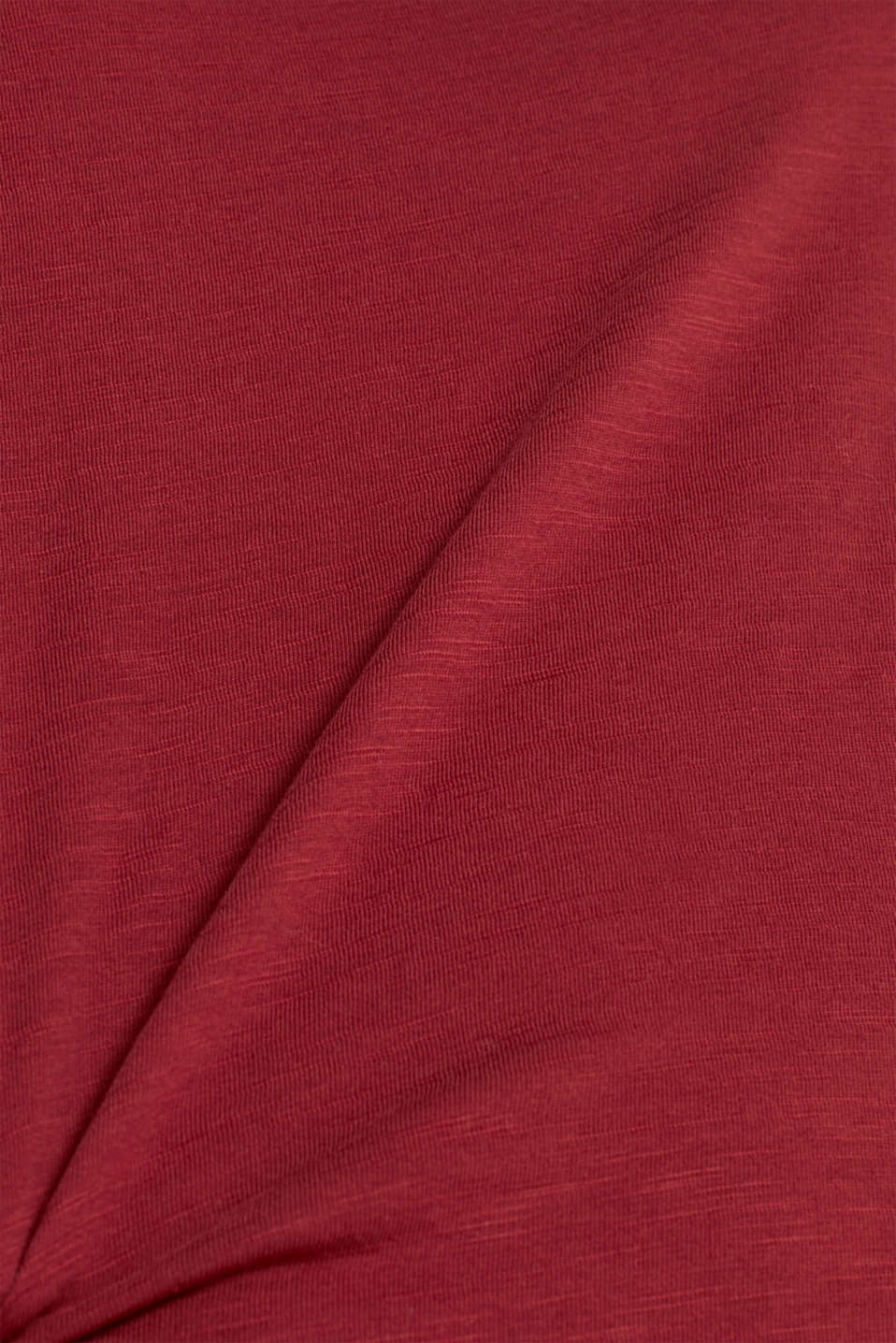 Long sleeve top with a large neckline, 100% cotton, GARNET RED 5, detail image number 4