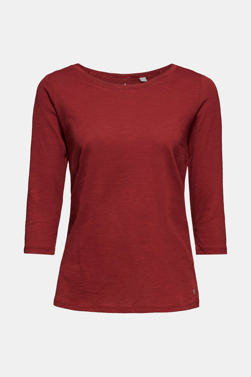 Long sleeve top with a large neckline, 100% cotton, GARNET RED 5, detail image number 5