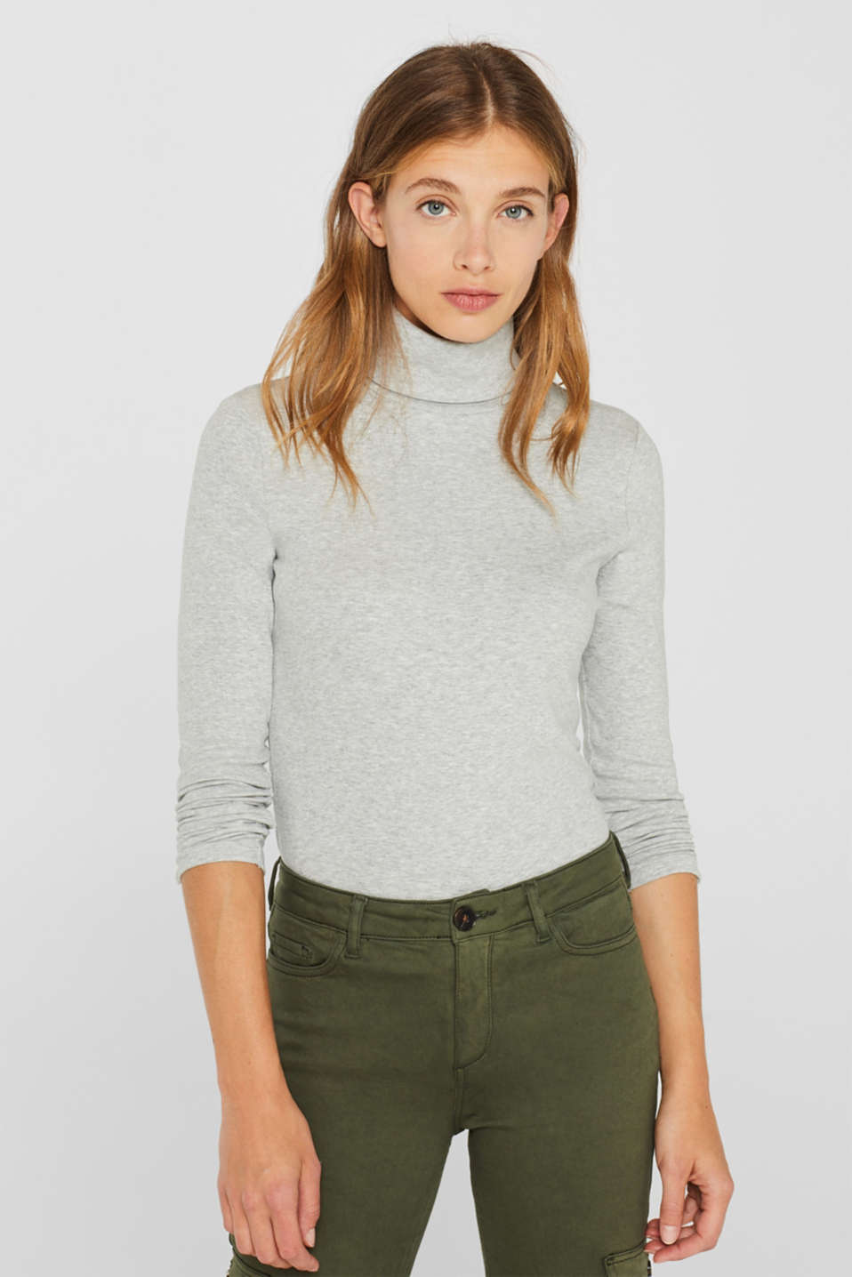 Esprit - Long sleeve stretch polo neck top