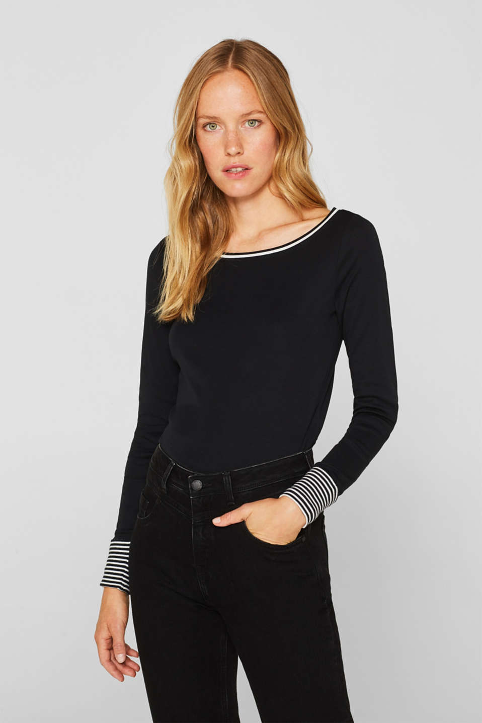 Esprit Top with striped details, 100% cotton at our Online