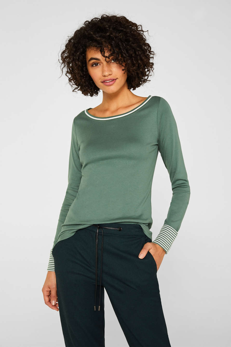 Top with striped details, 100% cotton, KHAKI GREEN 4, detail image number 0