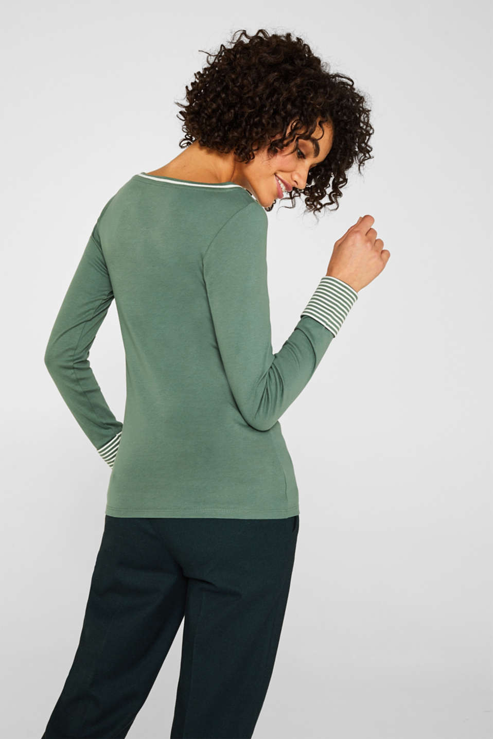 Top with striped details, 100% cotton, KHAKI GREEN 4, detail image number 3