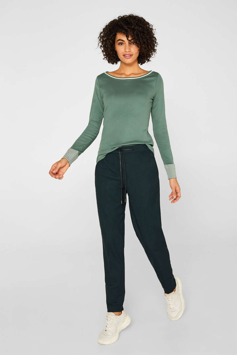 Top with striped details, 100% cotton, KHAKI GREEN 4, detail image number 1