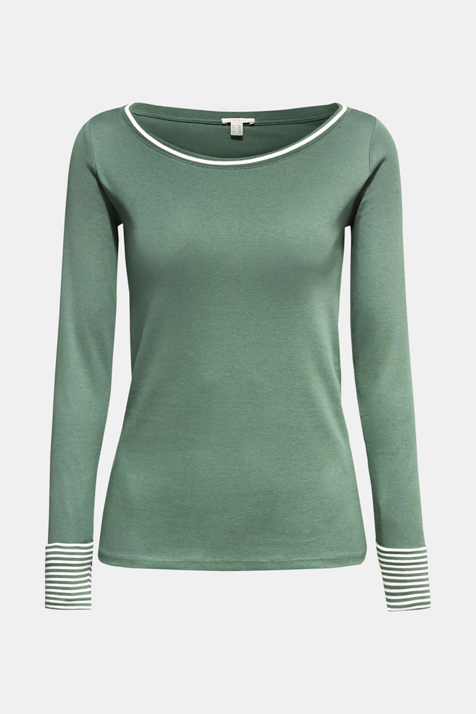 Top with striped details, 100% cotton, KHAKI GREEN 4, detail image number 5