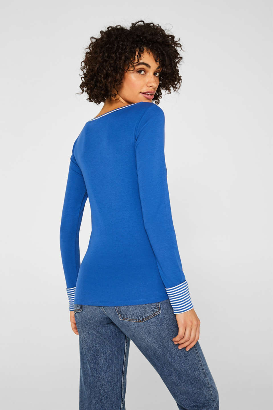 Top with striped details, 100% cotton, BRIGHT BLUE 4, detail image number 3