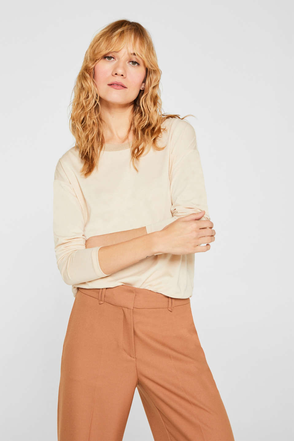 Esprit - Drawstring long sleeve top with a ribbed trim