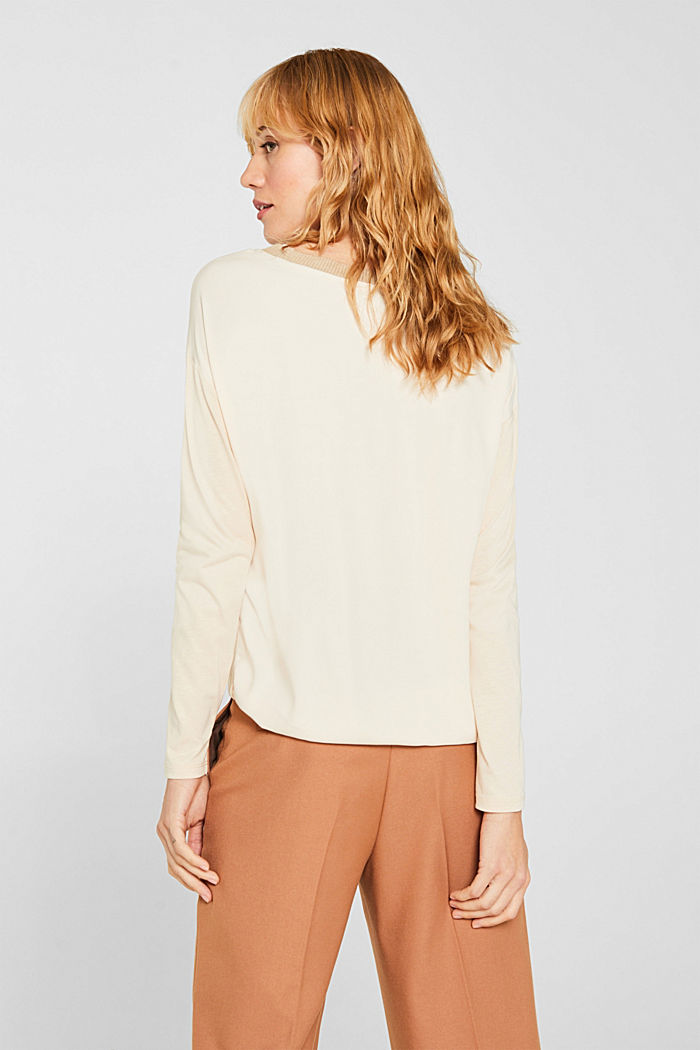 Drawstring long sleeve top with a ribbed trim, LIGHT BEIGE, detail image number 3