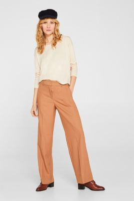 Drawstring long sleeve top with a ribbed trim, LIGHT BEIGE, detail