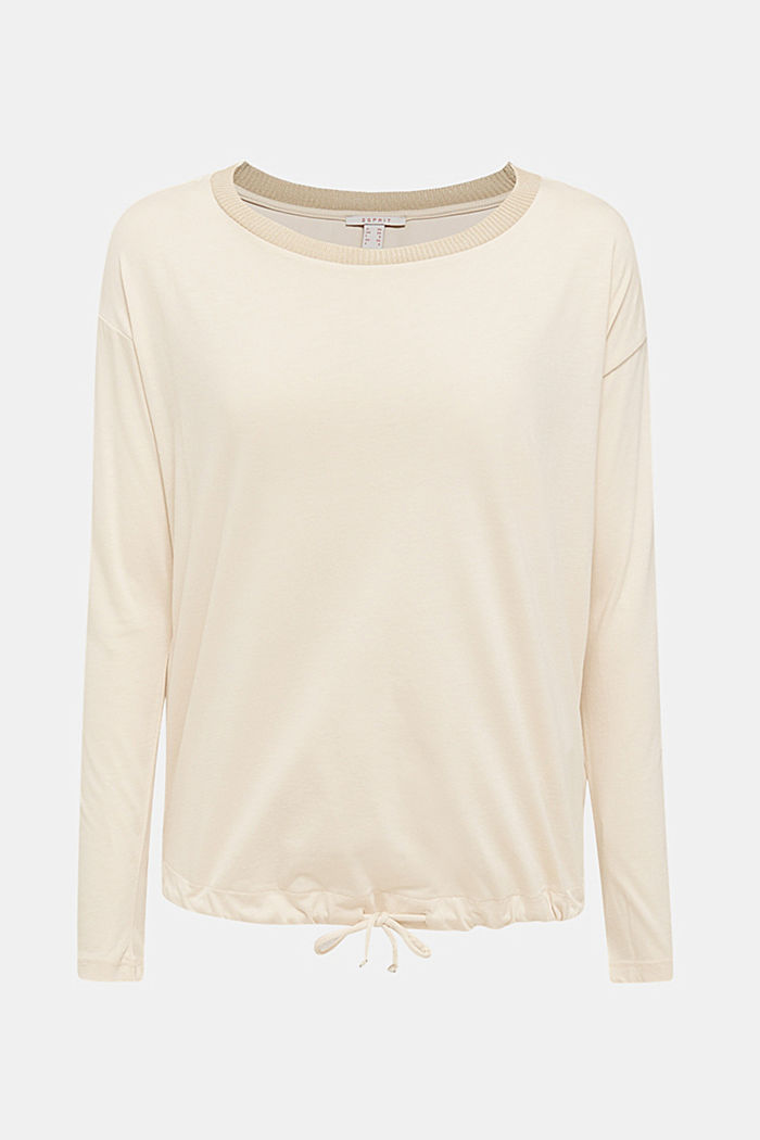 Drawstring long sleeve top with a ribbed trim, LIGHT BEIGE, detail image number 7