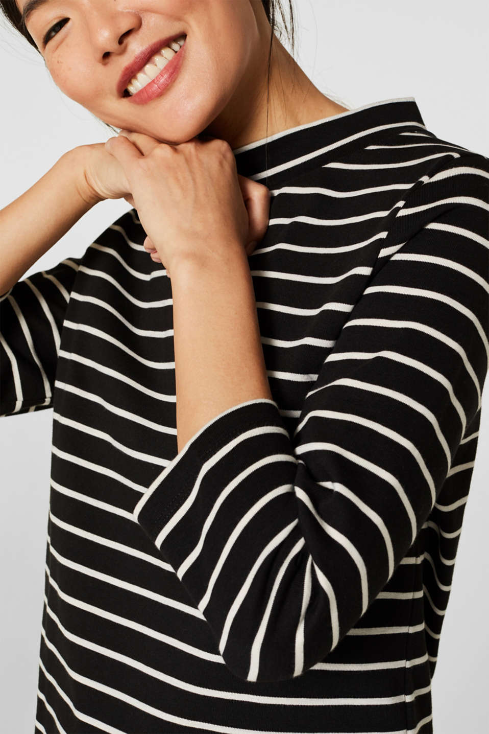 Heavy jersey top with a band collar, BLACK, detail image number 2