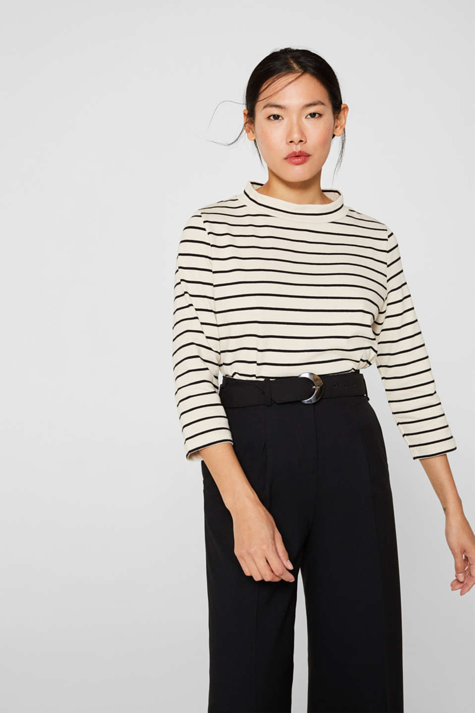 Esprit - Heavy jersey top with a band collar