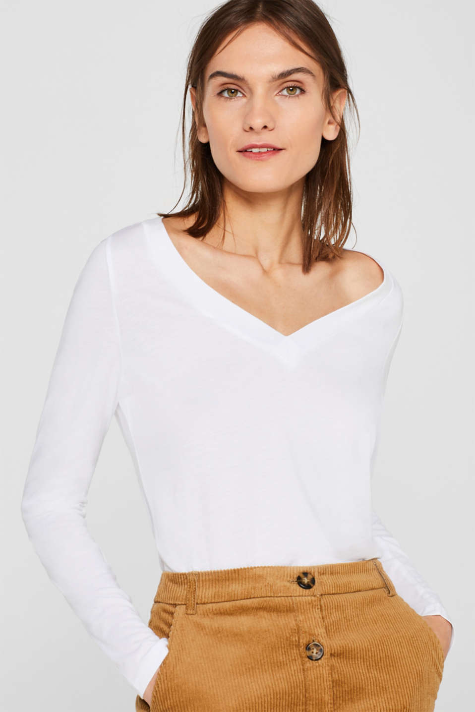 Double pack: Long sleeve top with organic cotton, WHITE, detail image number 0