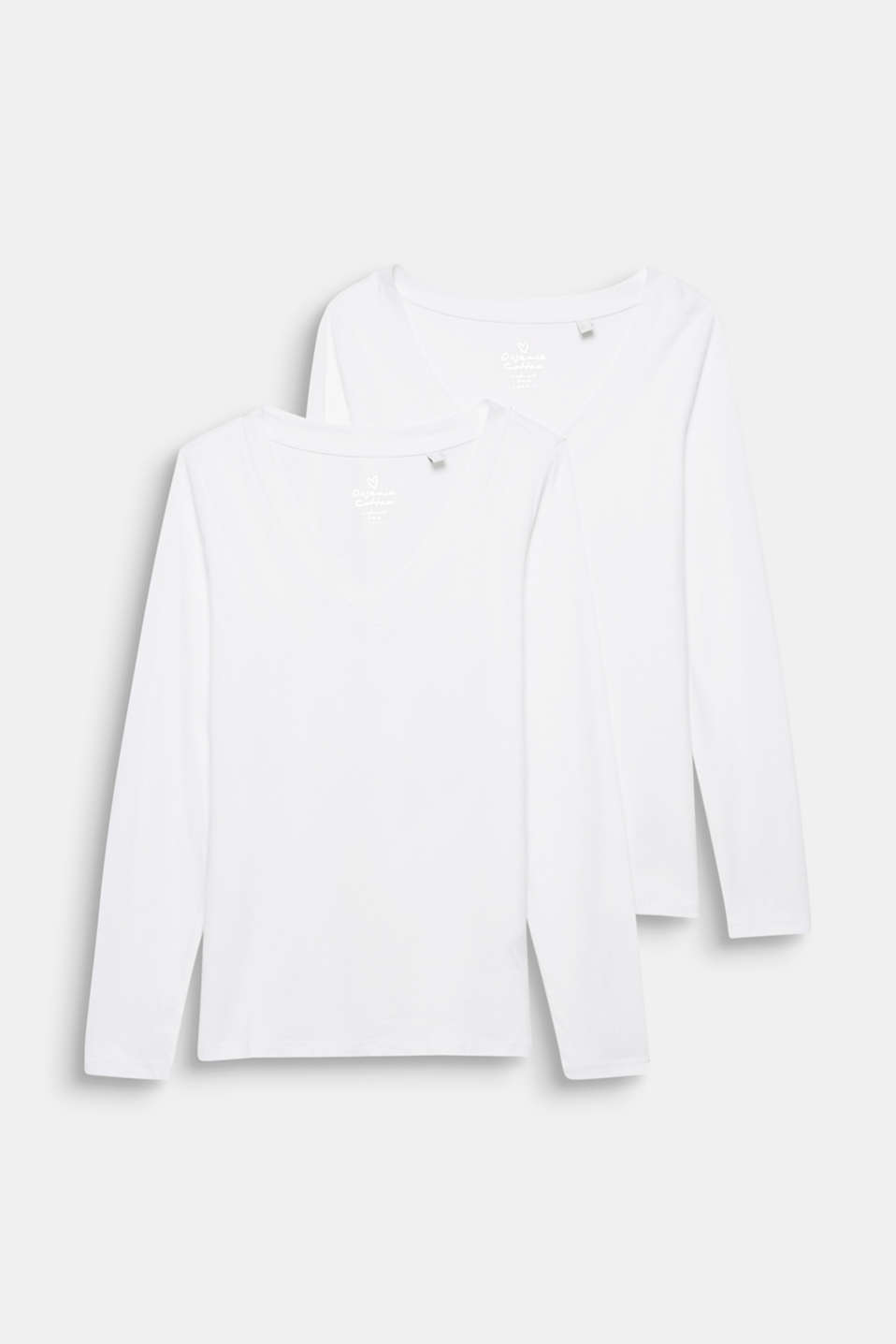 Double pack: Long sleeve top with organic cotton, WHITE, detail image number 5