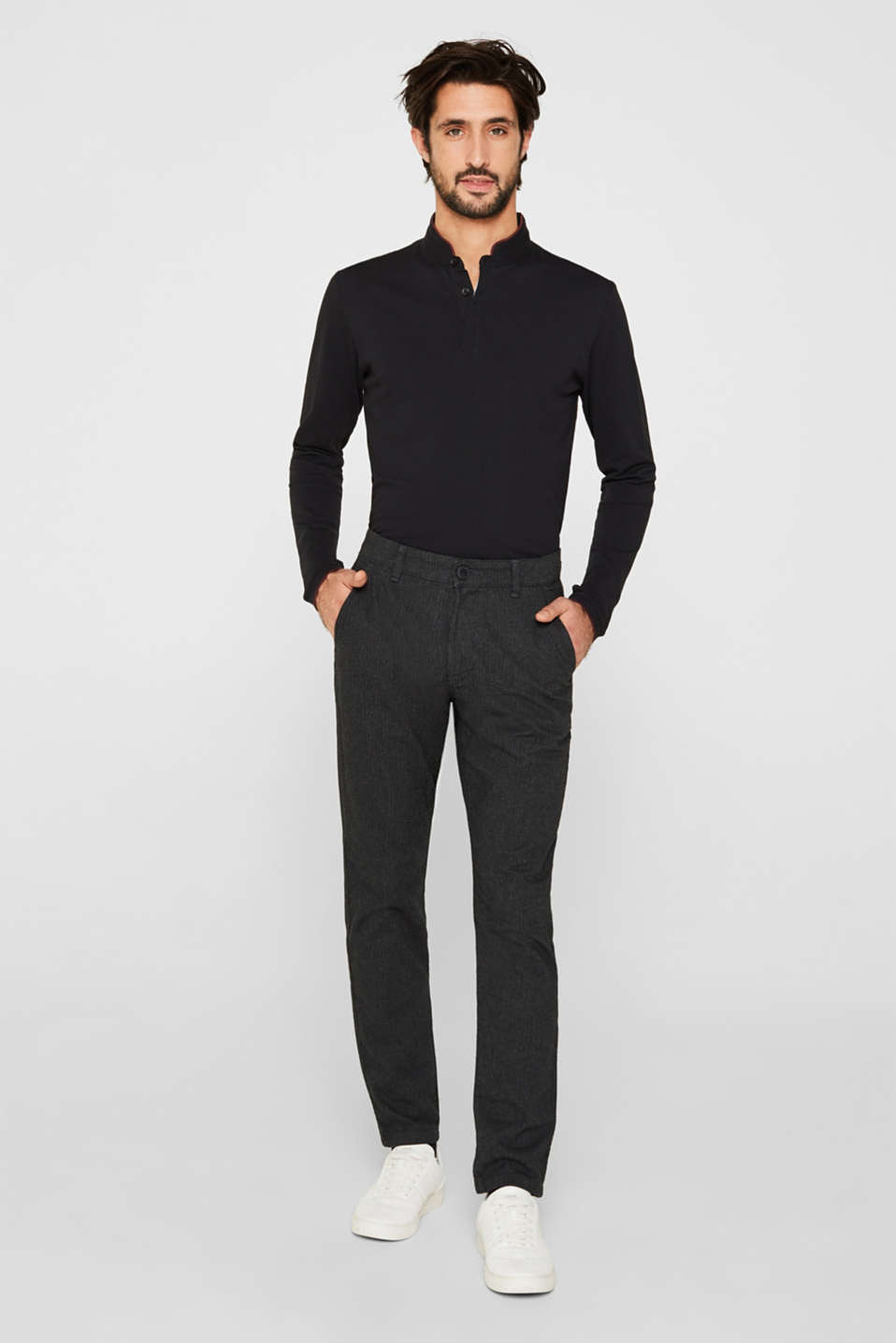 Stretch trousers with a herringbone pattern, ANTHRACITE, detail image number 0
