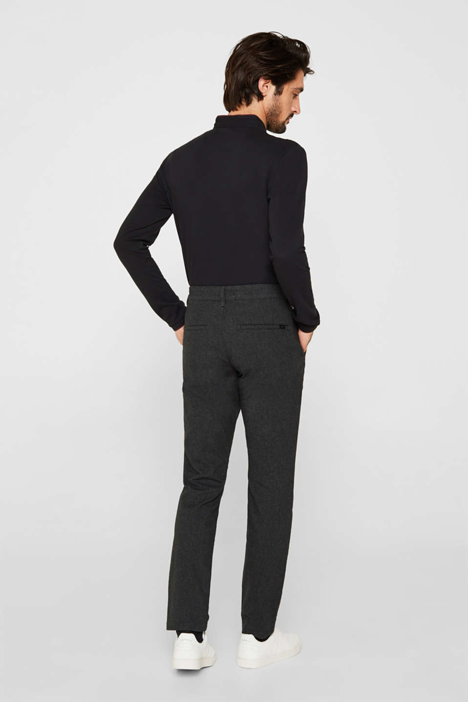 Stretch trousers with a herringbone pattern, ANTHRACITE, detail image number 3