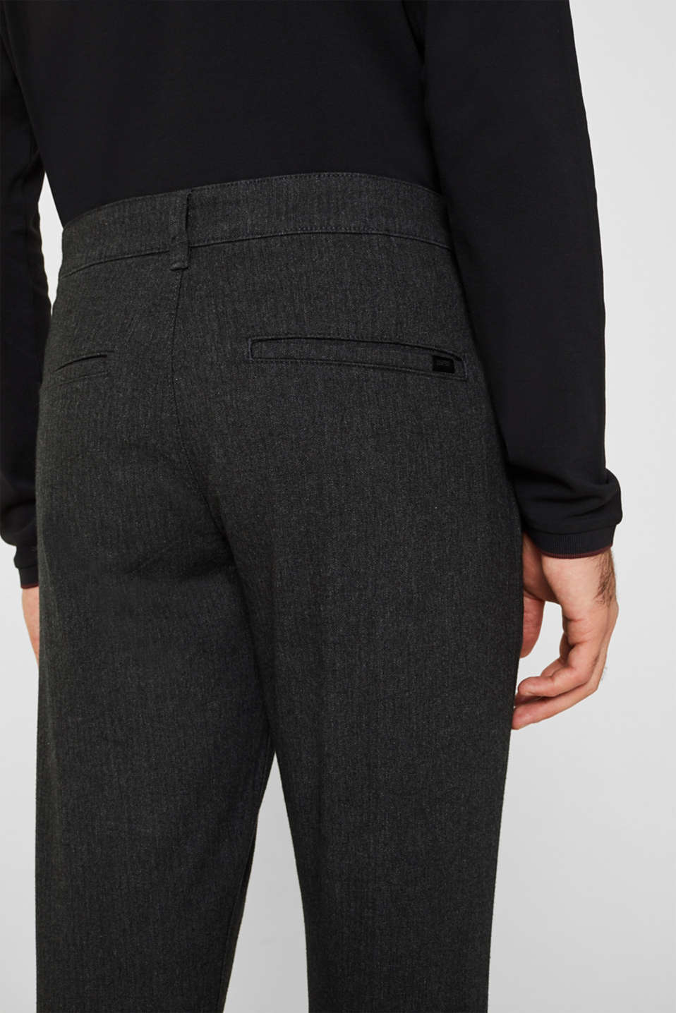 Stretch trousers with a herringbone pattern, ANTHRACITE, detail image number 2