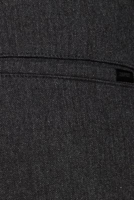 Stretch trousers with a herringbone pattern, ANTHRACITE, detail