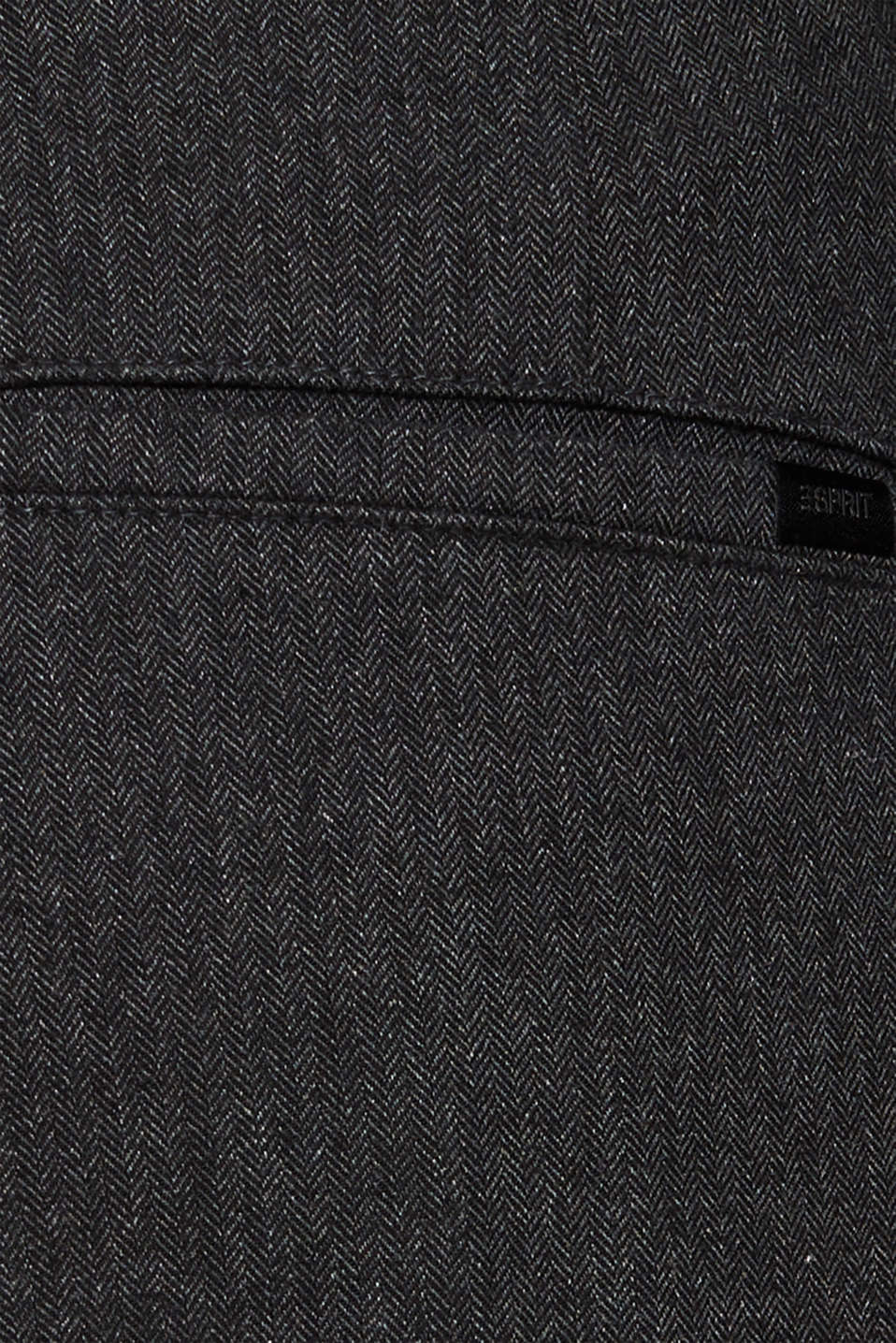 Stretch trousers with a herringbone pattern, ANTHRACITE, detail image number 4