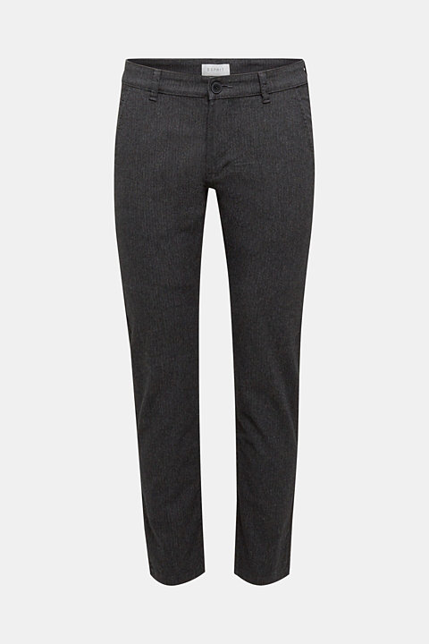 Stretch trousers with a herringbone pattern