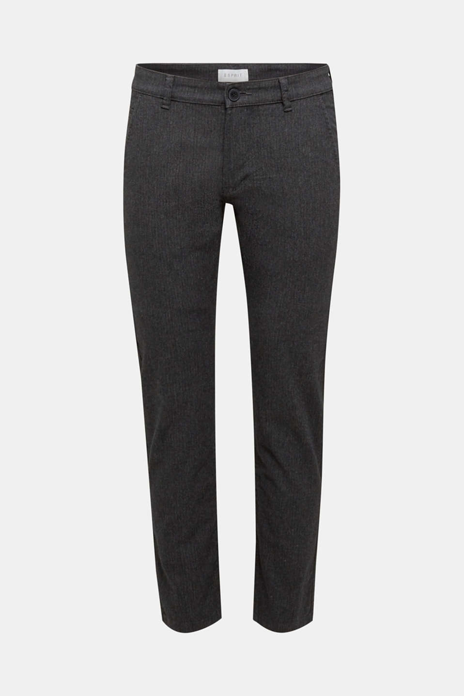 Stretch trousers with a herringbone pattern, ANTHRACITE, detail image number 5