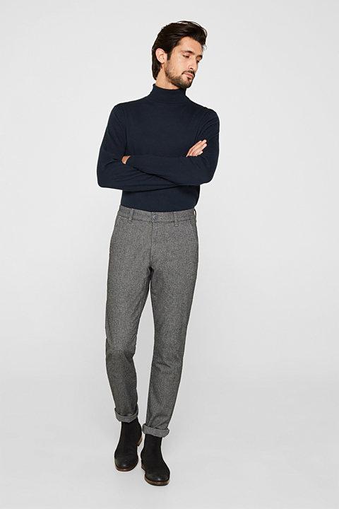 Stretch trousers with a herringbone pattern