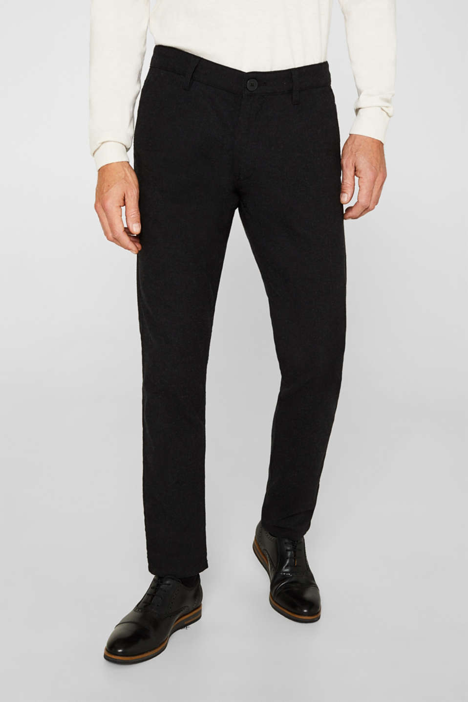 Stretch trousers made of blended cotton, ANTHRACITE, detail image number 0