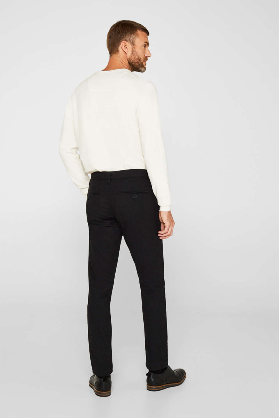 Stretch trousers made of blended cotton, ANTHRACITE, detail image number 3