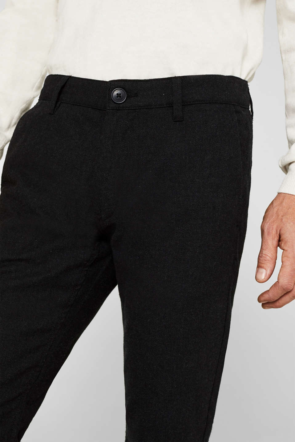 Stretch trousers made of blended cotton, ANTHRACITE, detail image number 2