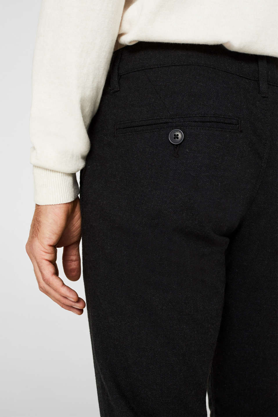 Stretch trousers made of blended cotton, ANTHRACITE, detail image number 4