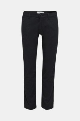 Stretch trousers made of blended cotton, ANTHRACITE, detail
