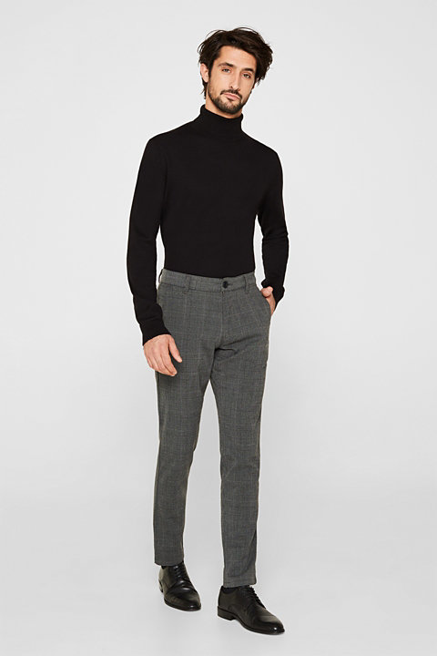 Stretch trousers with Prince of Wales checks
