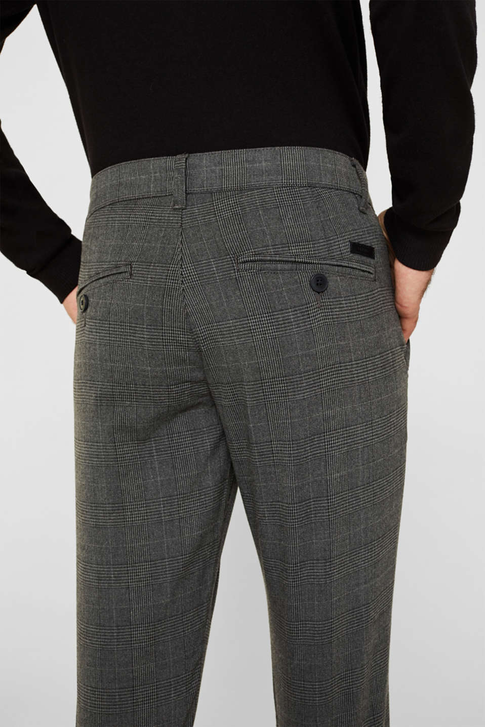 Stretch trousers with Prince of Wales checks, DARK GREY, detail image number 3
