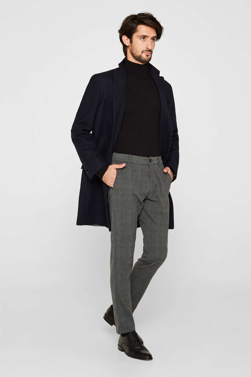 Stretch trousers with Prince of Wales checks, DARK GREY, detail image number 1