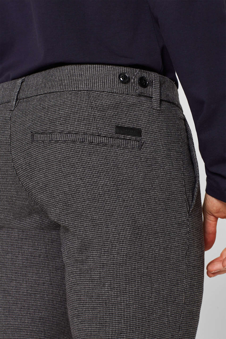 Houndstooth trousers made of stretch cotton, GREY, detail image number 2
