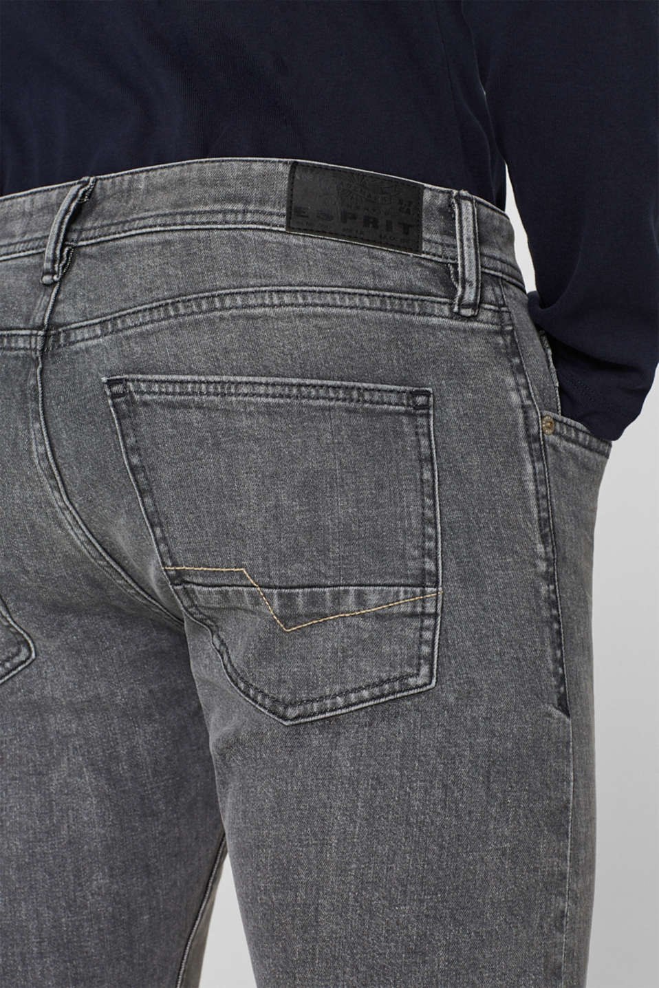 Stretch jeans with washed-out effects, GREY MEDIUM WASH, detail image number 3