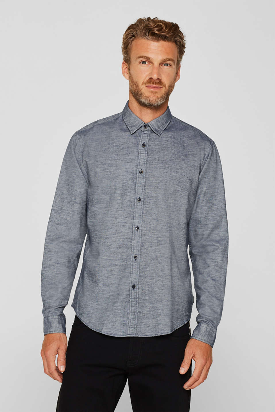 100% cotton shirt, GREY BLUE, detail image number 0