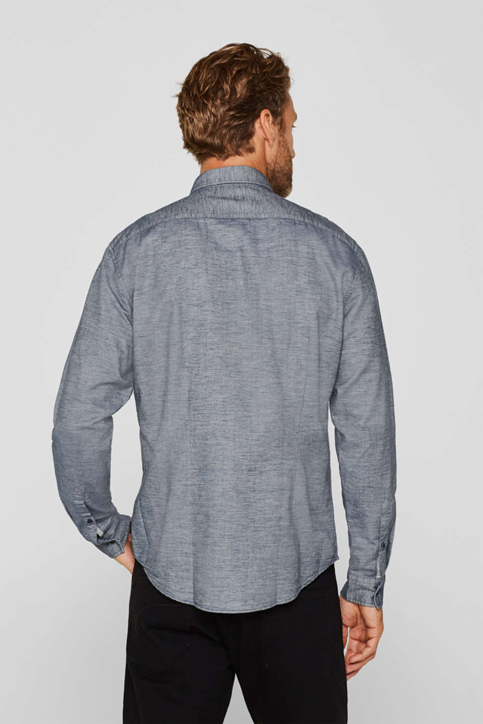 100% cotton shirt, GREY BLUE, detail image number 3