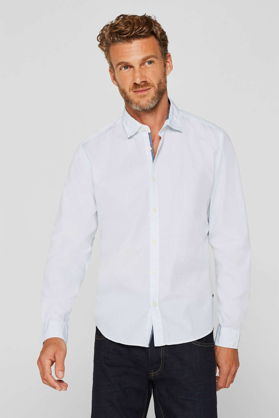 Esprit - Shirt with micro print, 100% cotton