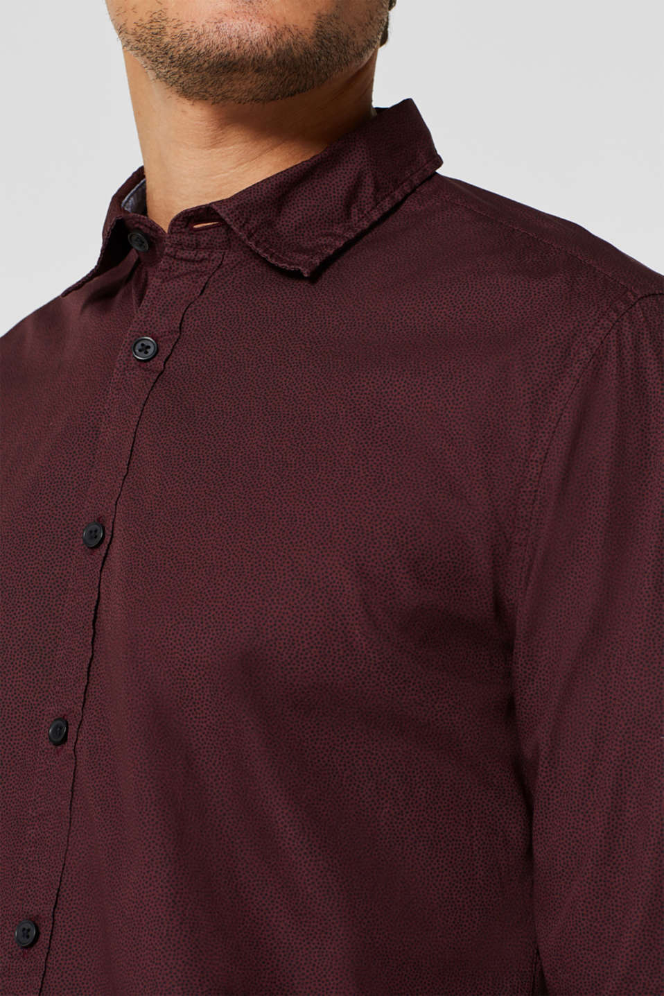 Shirt with micro print, 100% cotton, GARNET RED, detail image number 2