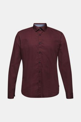 Shirt with micro print, 100% cotton, GARNET RED, detail