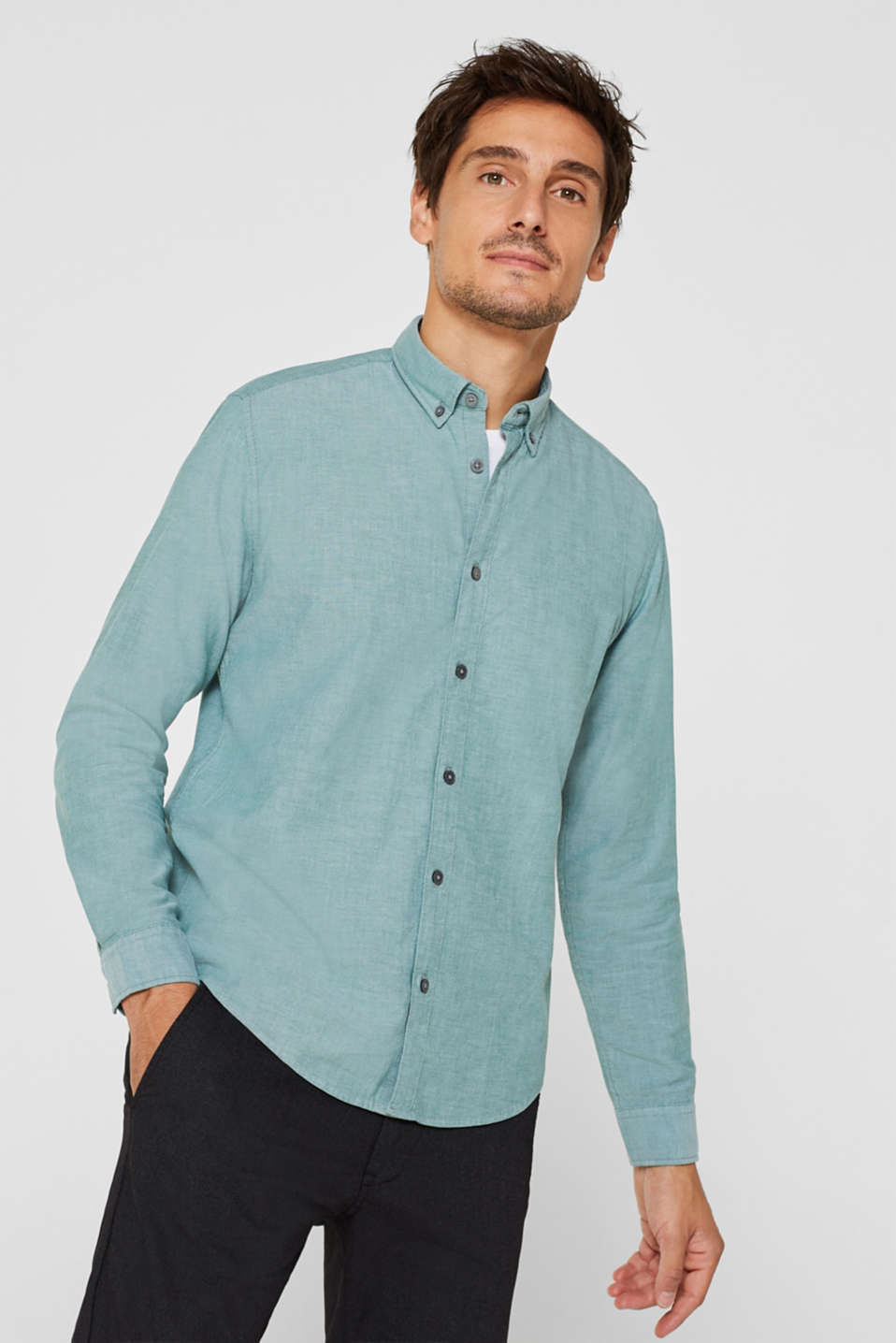 Top with a button-down collar, DARK GREEN, detail image number 0